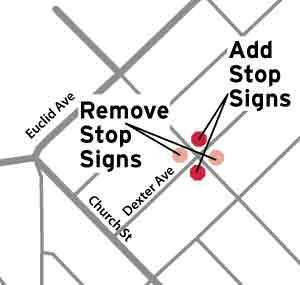 Dexter Vine Stop Sign Changes