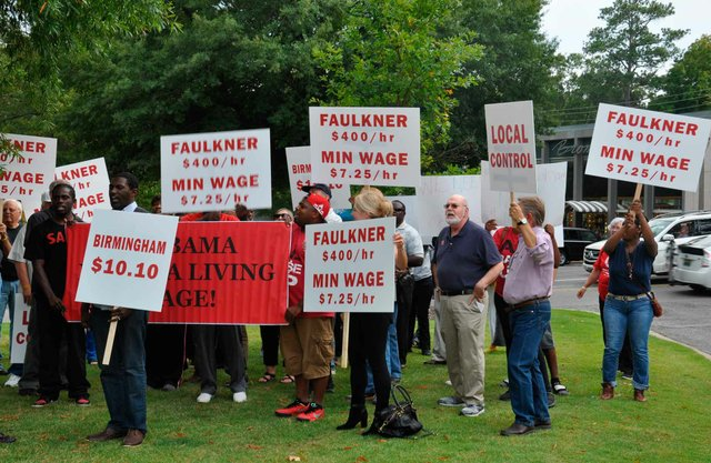 Faulkner Minimum Wage Protest
