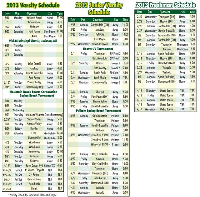 0213 MBHS Baseball Schedule